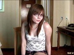 Wicked sizzling JOI in a hotel apartment from a glasses teen