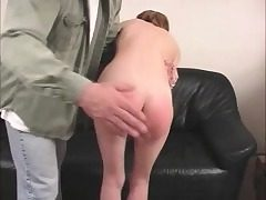 Lean Zoe can't pay her rent and he spanks her tiny arse red