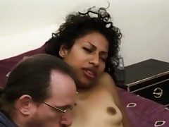 Unexperienced ebony stunner facialized during groupsex