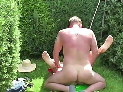 German Father Seduce Step-Daughter to Fuck in the Garden