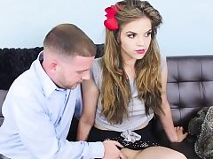 Thin teen babe gets pounded hard and deep on the couch
