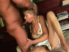 Blonde Granny Inci Gives Head And Rides Man sausage