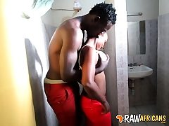 Real African amateur slut toilet pound