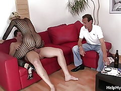 Old hubby observing wifey railing another fuckpole
