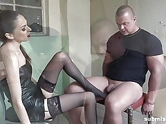 Bound fellow submissed by Euro domina! Superb Femdom!