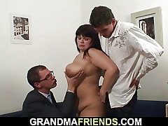 Chubby gigantic breasts mom 3 way orgy