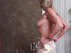 Blonde Grandma anal porked by a black big cook