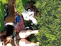 College ladies sunbathing