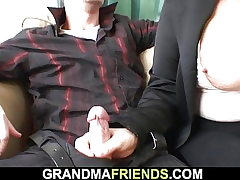 Blonde old grandmother dual poked on the table