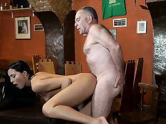 Old kissing and grandfather fuck-fest Anna and her bf came to