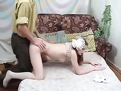 Russian schoolgirl gets shaven pussy nailed