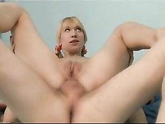 Pretty young schoolgirl light-haired loves assfuck