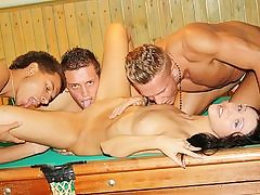 Dark-Haired ripped up rigid on the pool table
