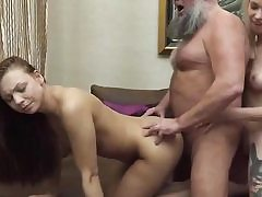 A platinum-blonde and a dark-haired in old and young three-way hard sex video