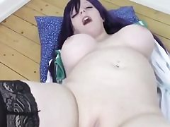 Giant jugged slut romping her shaved muff with a meaty pink dildo