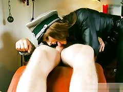Super-naughty Nazi tart is manhandling this bare man and his huge knob