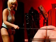 Horny blond wearing a peruke rubbing his caboose and then spanking it hard